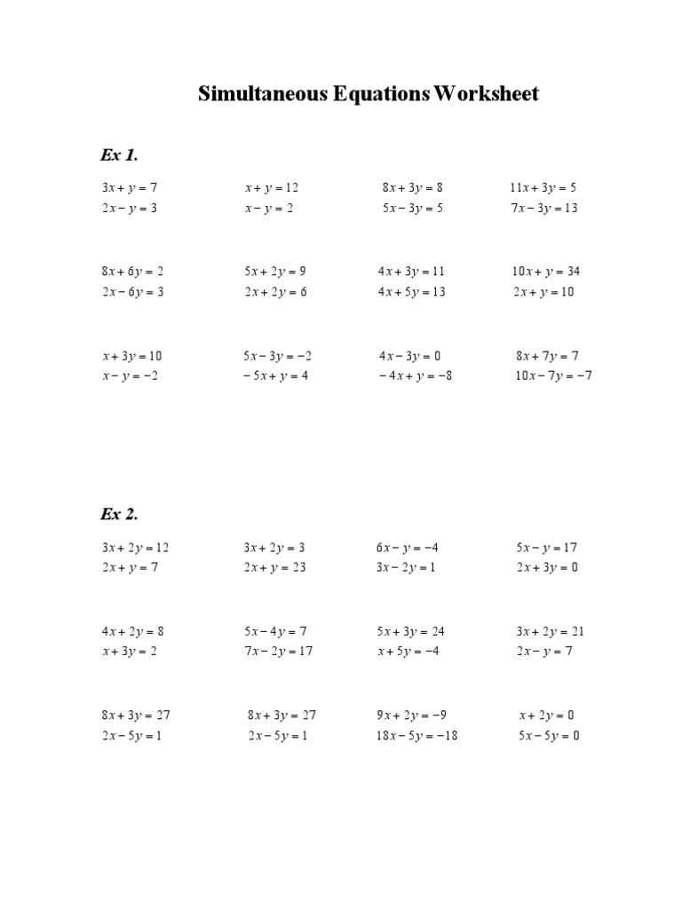 Printables Simultaneous Equations Worksheet simultaneous equations worksheet