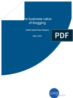 Business value of blogging (Whitepaper by Lewis PR)