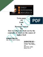 F&B Cost Control