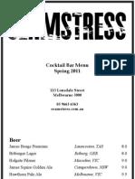 Cocktail Bar Menu Sept 2011