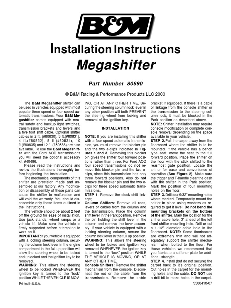1511512123?v=1 b&m megashifter installation manual manual transmission b&m megashifter wiring diagram at soozxer.org