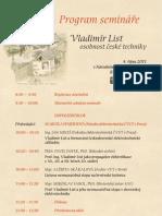 Seminář Vladimír List - program