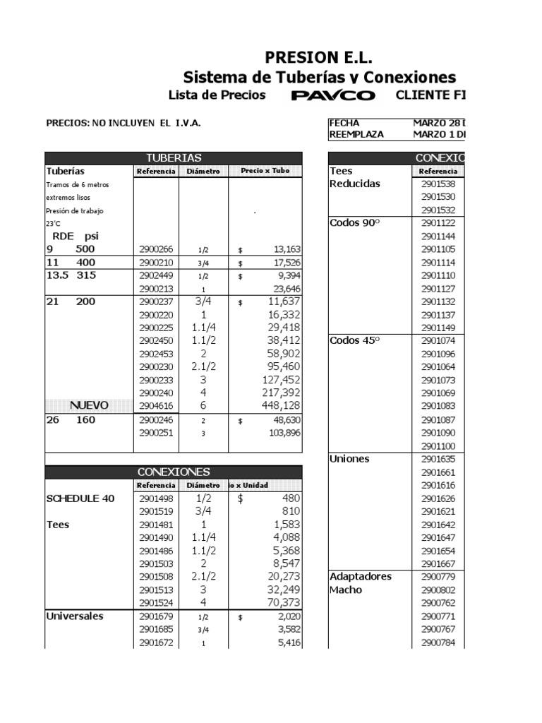 Lista de precios tuberia pavco novafort - Tuberia de polietileno precios ...