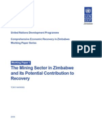 The Mining Sector in Zimbabwe and Its Potential Contribution to Recovery