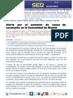Alerta por aumento de casos de sarampión en la Comunidad de Madrid