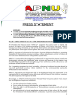 Policy Objectives of A.P.N.U. for the Indigenous Peoples of Guyana