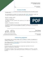 Comunicat de presă în franceză și engleză referitor la comunicarea hotărârii Agache contra România