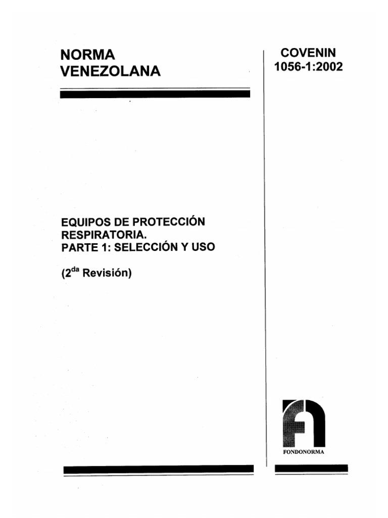 COVENIN 1056-1 (EQUIPOS DE PROTECCION RESPIRATORIA. PARTE