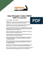 Jeep Wrangler Codes OBDII