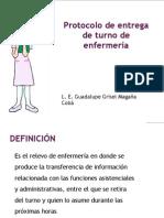Protocolo de entrega de turno de enfermería.L.E.Guadalupe M