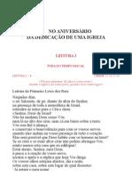 Leccionario Santoral No Aniversario Da Dedicacao de Uma Igreja