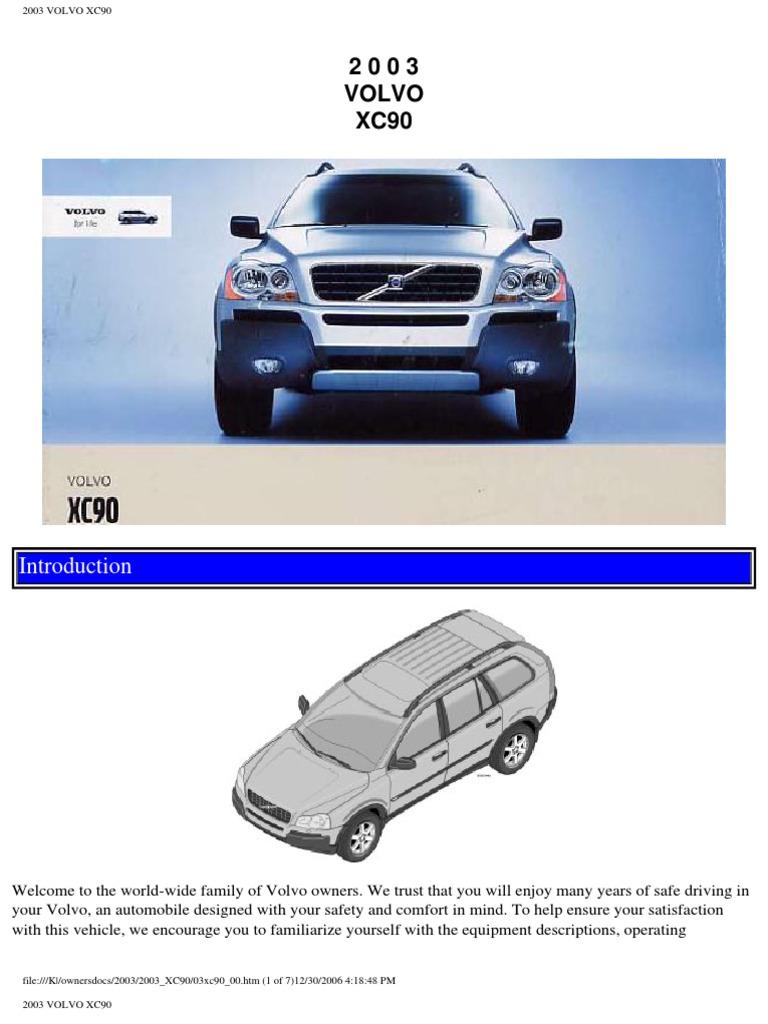 Volvo Xc90 2003 User Manual