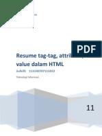 Resume Tag-tag, Attribute, Value Dalam HTML