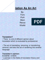 Translation as an Art