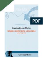 Giustina Renier Michiel - Origine Delle Feste Veneziane 1