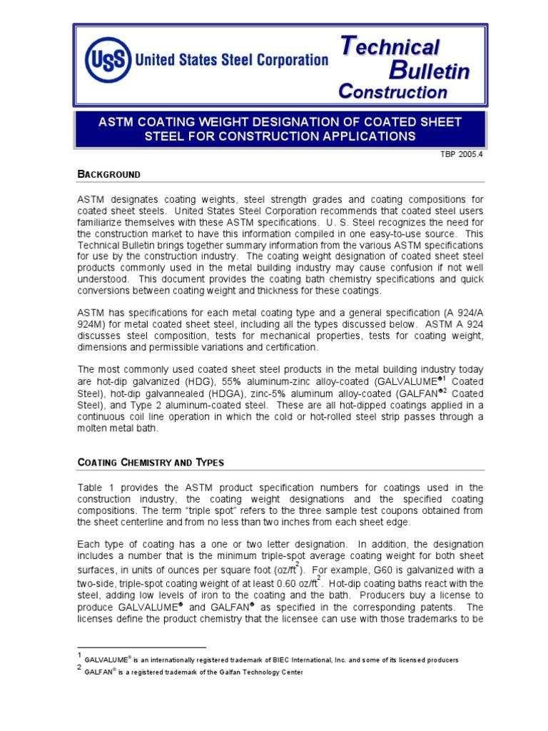 Astm Coating Weight Designations Ofcoated Sheet Steel Sheet Metal