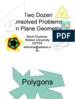 Unsolved Problems in Plane Geometry
