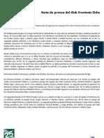 20090926 Nota de Prensa Primera Jornada de Liga