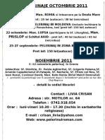 [Pelerinul Roman] Agenda Pelerinaje - Octombrie - Noiembrie 2011