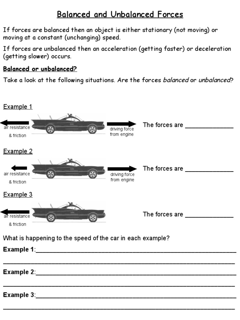 Worksheet Balanced And Unbalanced Forces Worksheet balanced and unbalanced forces