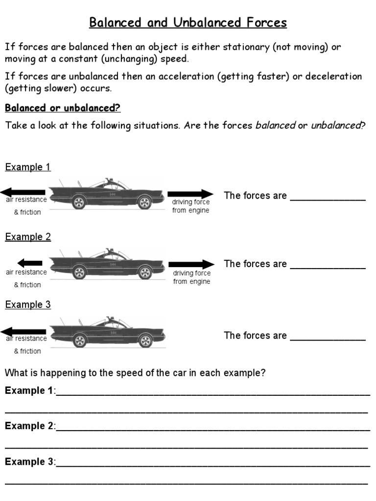Worksheets Balanced And Unbalanced Forces Worksheet 1526789220v1