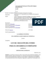 Ley de Creacion Del Fondo de Desarrollo Endogeno