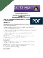 Sen. Krueger's Free Events List