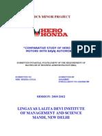 Hero Honda Comparative Study of Hero Honda Motors With Bajaj Automobiles