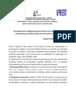 Tecnologia social e adequação sócio-técnica como instrumentos de sobrevivência para EES da cadeia de confecções em São Carlos