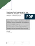 LR Maintenance Guide Checklist