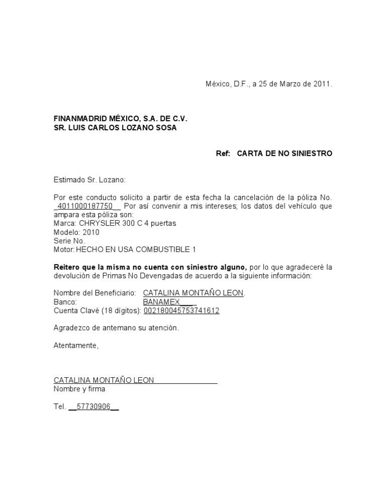 cartas de cancelacion de seguros CARTA PRIMA NO DEVENGADA[1]