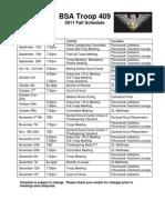 BSA Troop 409 Fall 2011 Schedule (1)