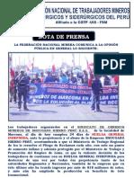 Nota de Prensa del Sindicato de Obreros de la Minera Shougang - 23 de Setiembre
