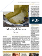 Reportaje escrito dos cuartillas. Gastronomía de Morelia
