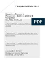 Partial SWOT Analysis of China for 2011