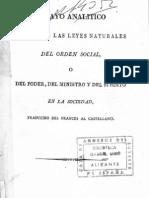 Bonald Louis-Gabriel de - Ensayo analítico acerca de las leyes naturales del orden social o del poder... en la sociedad [1800] (Ed 1823)