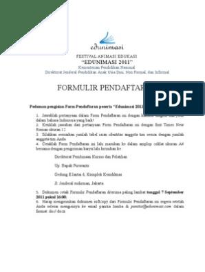 Formulir Pendaftaran Edunimasi