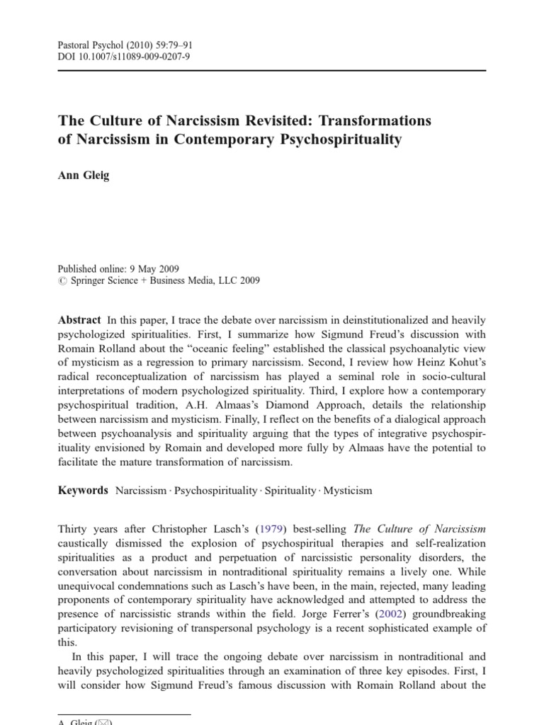 The Culture of Narcissism Revisited - Transformations of