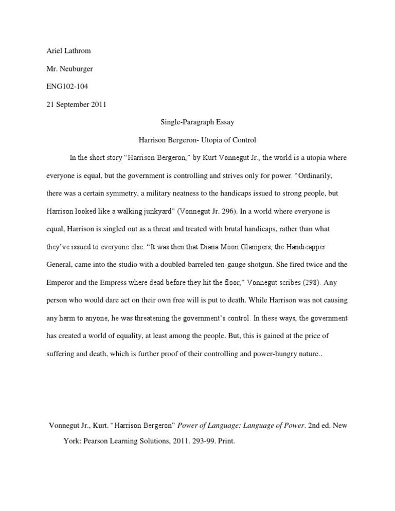 harrison bergeron argumentative essay