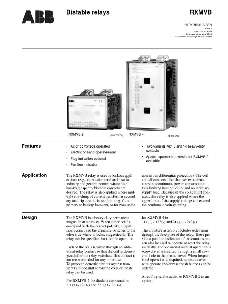 Rxmvb Catalogue 1mrk508016en Relay Inductor
