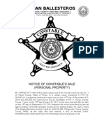 Michael Coker - Notice of Constable's Sale of Personal Property