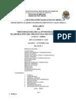 Syllabus Metodología de la investigación Residentado 2011 Bloque I