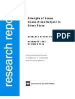 Strength of Screw Connections Subject to Shear Force