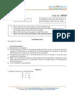 Mathematics Question Paper 2008