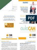 Aula CAM Alicante. Programación teatro. Octubre 2011. Obra Social. CAM