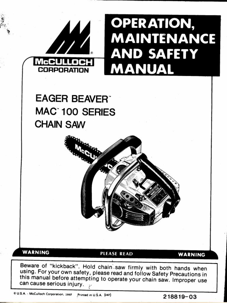Mcculloch chainsaw manual mac160.