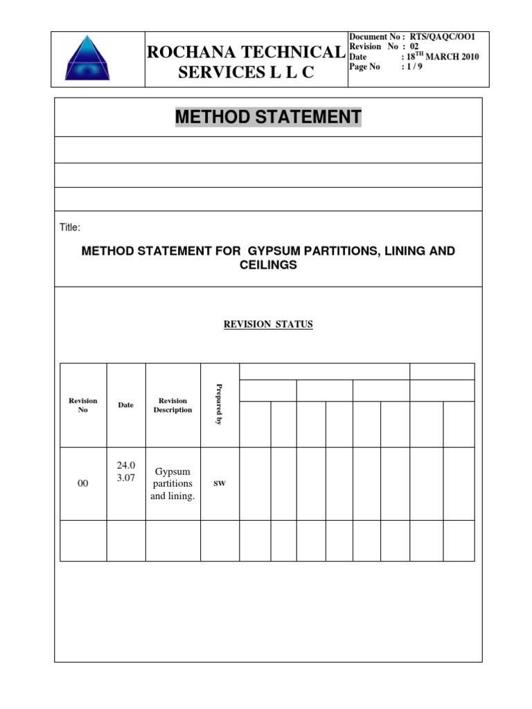 7Method Statement for Gypsum Partition – Method Statement Template Doc
