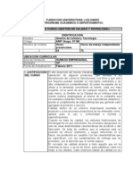 Plan de curso Gestión de calidad y tecnología 51180 1° 2011