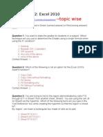 Excel Aptitude Questions