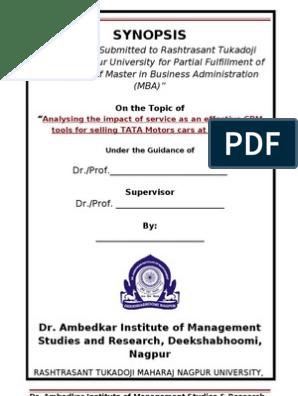 Synopsis Sample Format | Customer Relationship Management